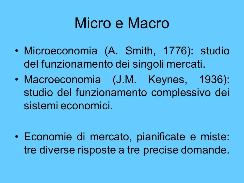 Micro e Macro Microeconomia (A. Smith, 1776): studio del funzionamento dei singoli mercati. Macroeconomia (J.M. Keynes, 1936): studio del funzionament