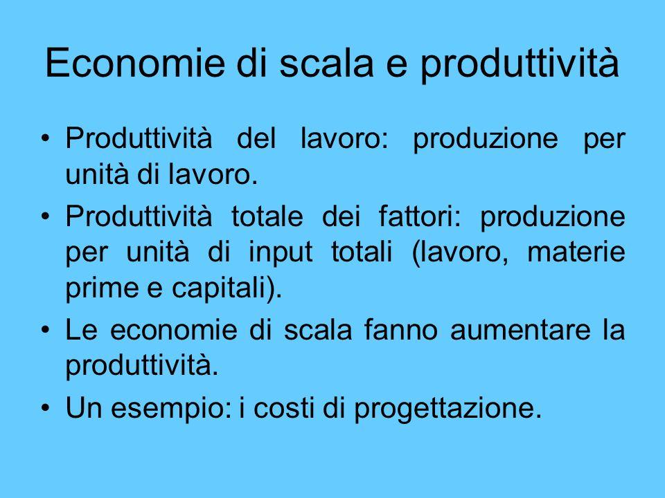 Economie di scala e produttività Produttività del lavoro: produzione per unità di lavoro. Produttività totale dei fattori: produzione per unità di inp