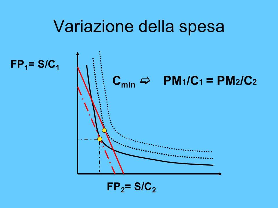 Variazione della spesa FP 1 = S/C 1 FP 2 = S/C 2 C min PM 1 /C 1 = PM 2 /C 2