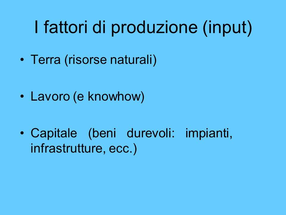 I fattori di produzione (input) Terra (risorse naturali) Lavoro (e knowhow) Capitale (beni durevoli: impianti, infrastrutture, ecc.)
