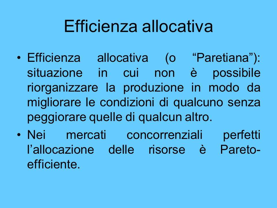 Efficienza allocativa Efficienza allocativa (o Paretiana): situazione in cui non è possibile riorganizzare la produzione in modo da migliorare le cond