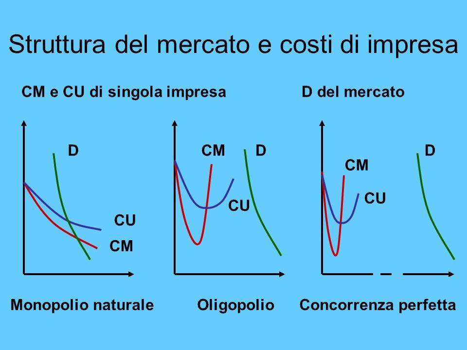 Struttura del mercato e costi di impresa D CU CMD CU CM D CU CM CM e CU di singola impresaD del mercato Monopolio naturaleOligopolio Concorrenza perfe