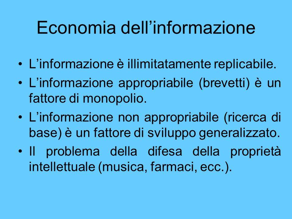 Economia dellinformazione Linformazione è illimitatamente replicabile. Linformazione appropriabile (brevetti) è un fattore di monopolio. Linformazione