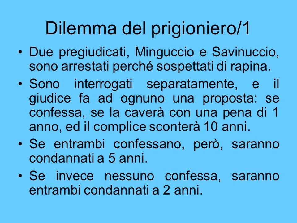Dilemma del prigioniero/1 Due pregiudicati, Minguccio e Savinuccio, sono arrestati perché sospettati di rapina. Sono interrogati separatamente, e il g