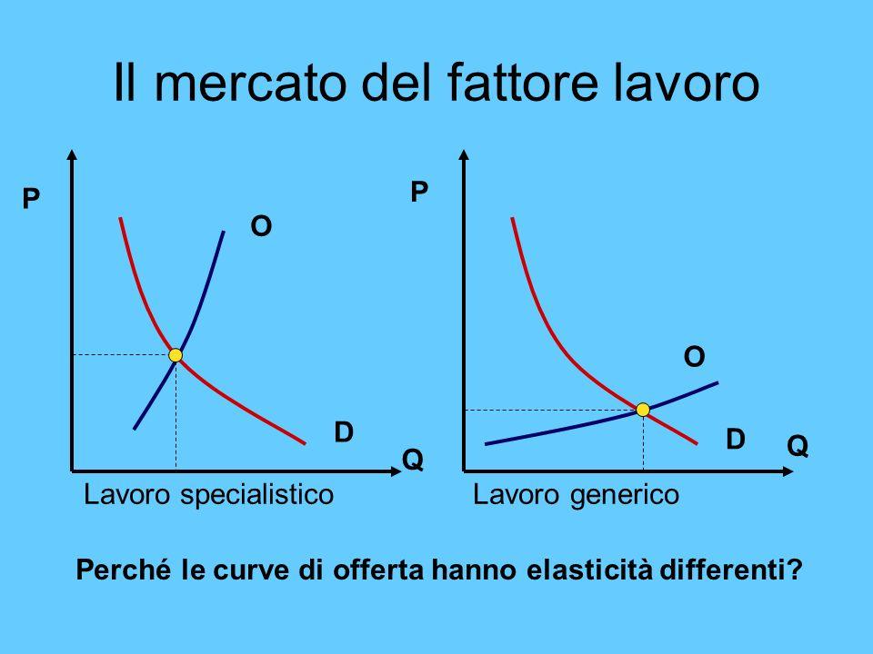 Il mercato del fattore lavoro Lavoro specialistico Lavoro generico O O D D Q P Q P Perché le curve di offerta hanno elasticità differenti?
