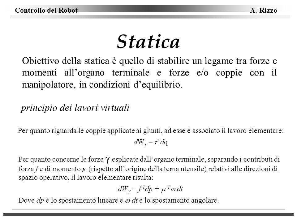 Controllo dei Robot A. Rizzo Statica Obiettivo della statica è quello di stabilire un legame tra forze e momenti allorgano terminale e forze e/o coppi