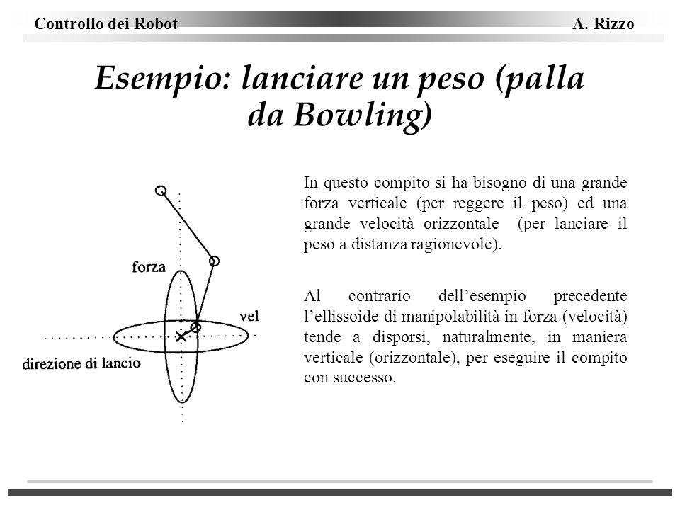Controllo dei Robot A. Rizzo Esempio: lanciare un peso (palla da Bowling) In questo compito si ha bisogno di una grande forza verticale (per reggere i