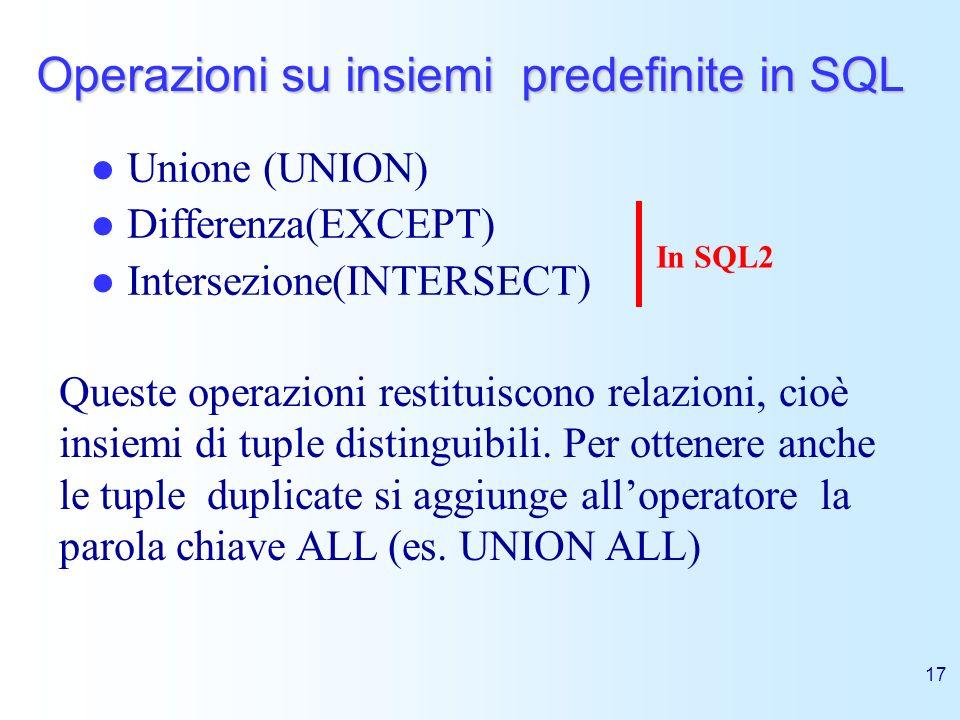 17 Operazioni su insiemi predefinite in SQL Unione (UNION) Differenza(EXCEPT) Intersezione(INTERSECT) In SQL2 Queste operazioni restituiscono relazion