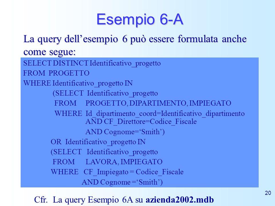 20 Esempio 6-A La query dellesempio 6 può essere formulata anche come segue: SELECT DISTINCT Identificativo_progetto FROM PROGETTO WHERE Identificativ