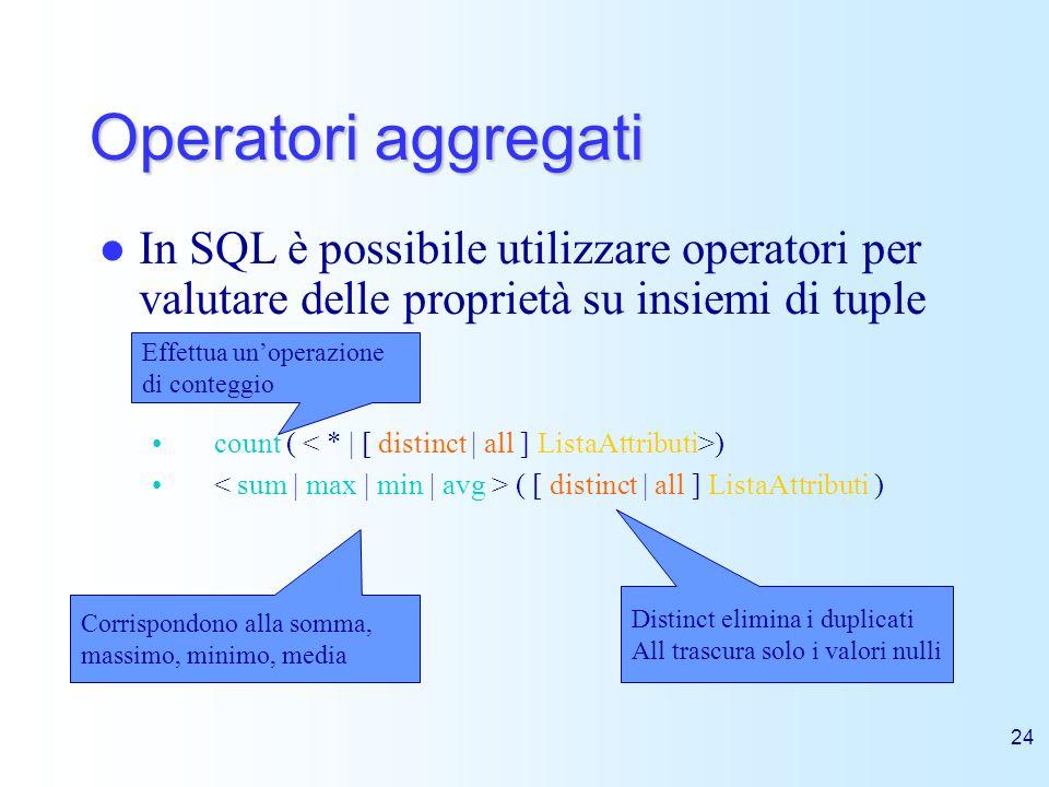 24 Operatori aggregati In SQL è possibile utilizzare operatori per valutare delle proprietà su insiemi di tuple count ( ) ( [ distinct | all ] ListaAt