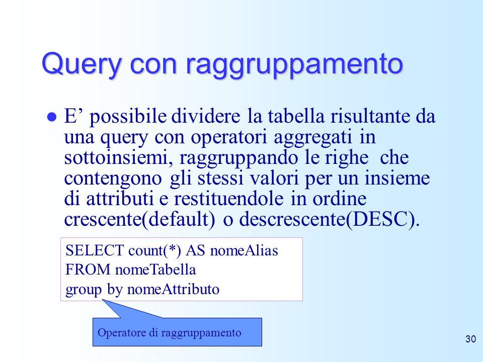 30 Query con raggruppamento E possibile dividere la tabella risultante da una query con operatori aggregati in sottoinsiemi, raggruppando le righe che