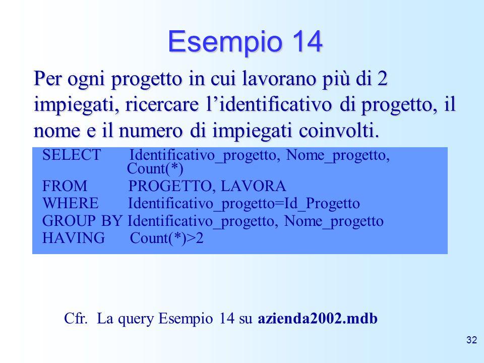 32 Esempio 14 SELECT Identificativo_progetto, Nome_progetto, Count(*) FROM PROGETTO, LAVORA WHERE Identificativo_progetto=Id_Progetto GROUP BY Identif