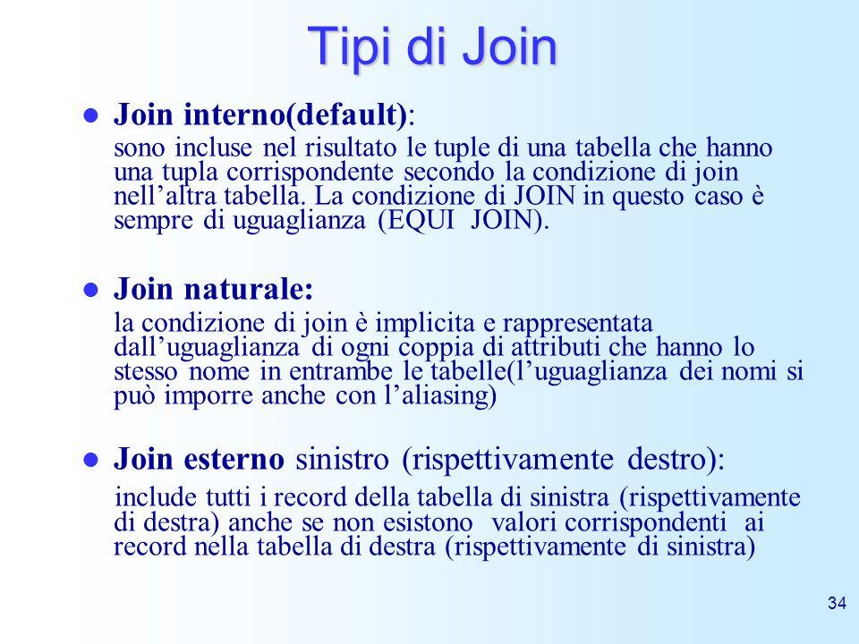 34 Tipi di Join Join interno(default): sono incluse nel risultato le tuple di una tabella che hanno una tupla corrispondente secondo la condizione di
