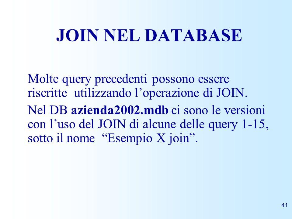 41 JOIN NEL DATABASE Molte query precedenti possono essere riscritte utilizzando loperazione di JOIN. Nel DB azienda2002.mdb ci sono le versioni con l