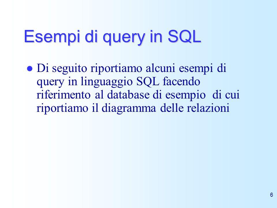 6 Esempi di query in SQL Di seguito riportiamo alcuni esempi di query in linguaggio SQL facendo riferimento al database di esempio di cui riportiamo i