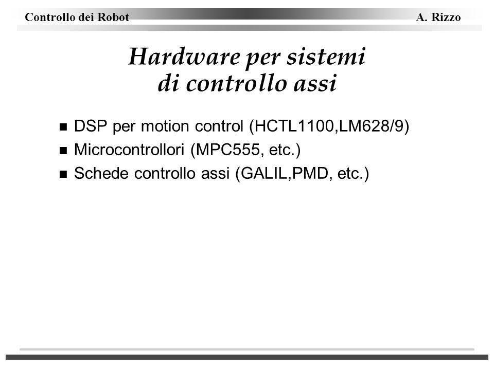 Controllo dei Robot A. Rizzo Hardware per sistemi di controllo assi n DSP per motion control (HCTL1100,LM628/9) n Microcontrollori (MPC555, etc.) n Sc
