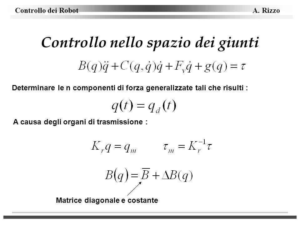 Controllo dei Robot A. Rizzo Controllo nello spazio dei giunti Determinare le n componenti di forza generalizzate tali che risulti : A causa degli org