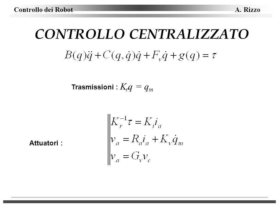 CONTROLLO CENTRALIZZATO Trasmissioni : K r q = q m Attuatori :