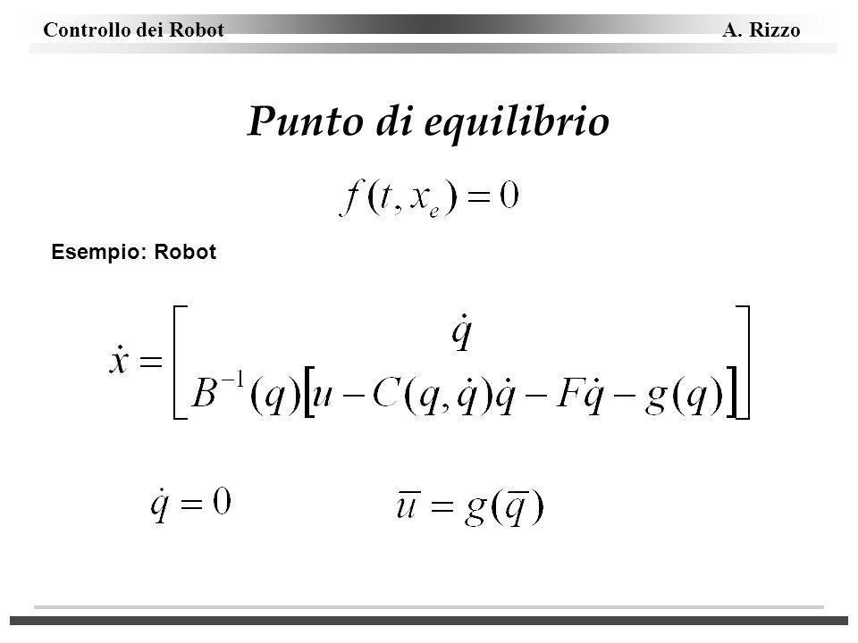 Controllo dei Robot A. Rizzo Punto di equilibrio Esempio: Robot