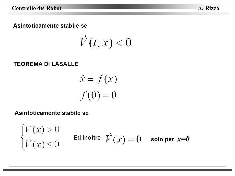 Controllo dei Robot A. Rizzo Asintoticamente stabile se TEOREMA DI LASALLE Asintoticamente stabile se Ed inoltre solo per x=0