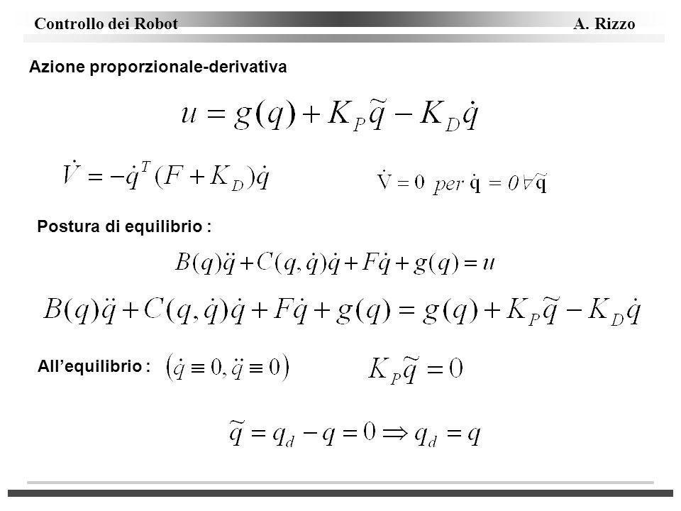 Controllo dei Robot A. Rizzo Azione proporzionale-derivativa Postura di equilibrio : Allequilibrio :