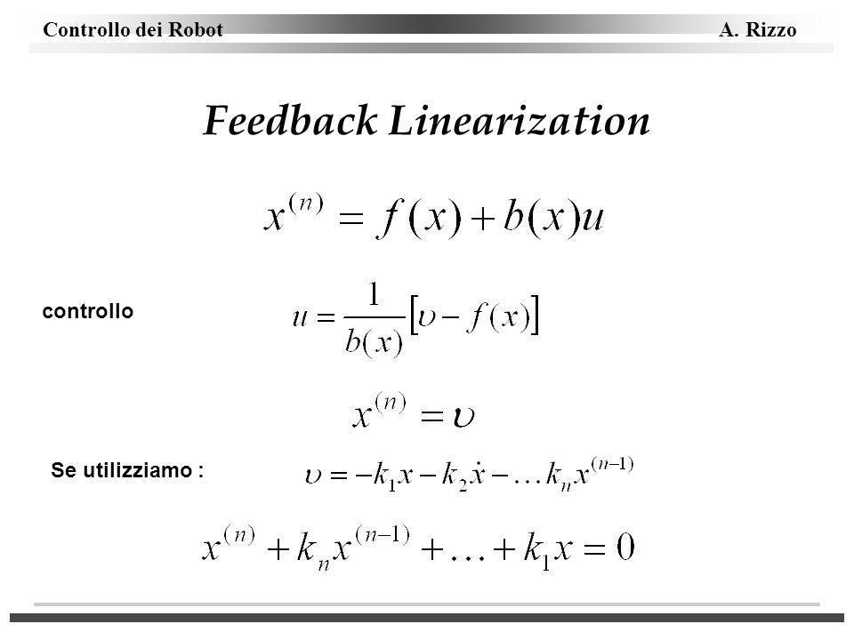Controllo dei Robot A. Rizzo Feedback Linearization controllo Se utilizziamo :