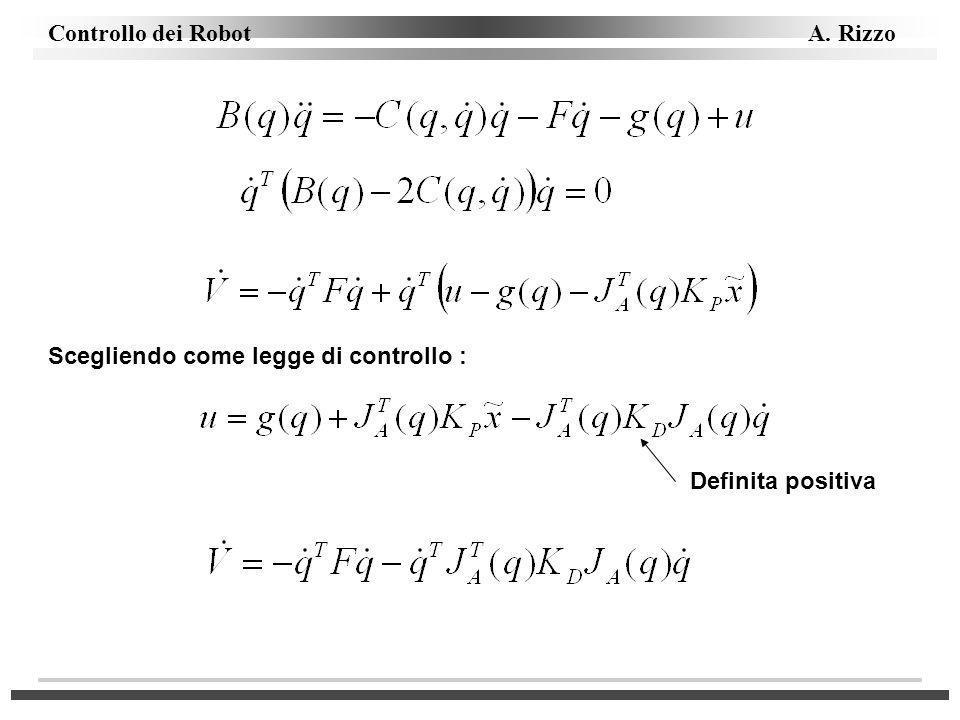 Controllo dei Robot A. Rizzo Scegliendo come legge di controllo : Definita positiva
