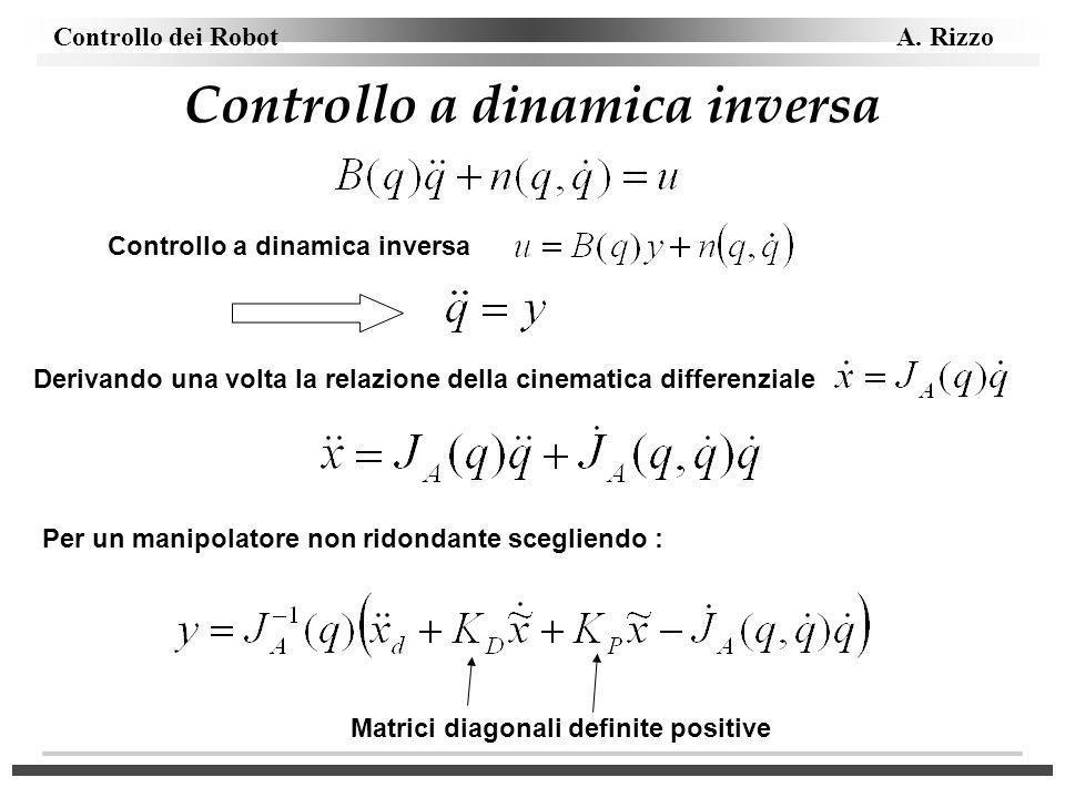 Controllo dei Robot A. Rizzo Controllo a dinamica inversa Per un manipolatore non ridondante scegliendo : Matrici diagonali definite positive Derivand