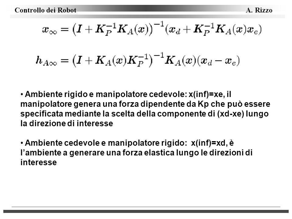 Controllo dei Robot A. Rizzo Ambiente rigido e manipolatore cedevole: x(inf)=xe, il manipolatore genera una forza dipendente da Kp che può essere spec