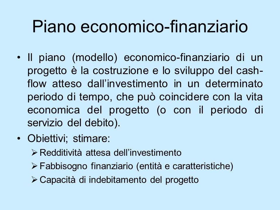 Piano economico-finanziario Il piano (modello) economico-finanziario di un progetto è la costruzione e lo sviluppo del cash- flow atteso dallinvestime