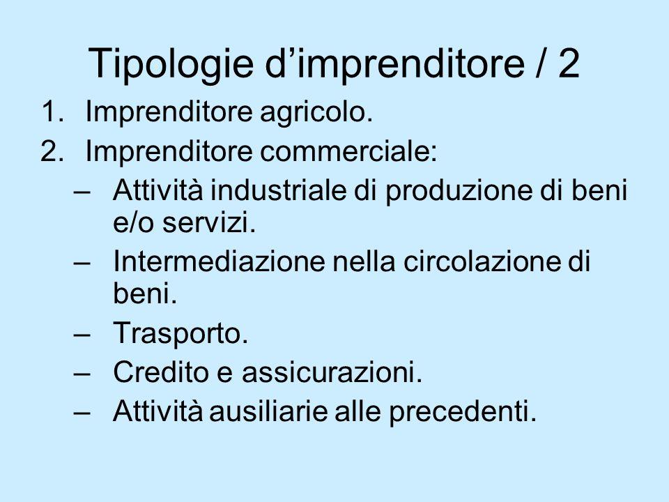 Tipologie dimprenditore / 2 1.Imprenditore agricolo. 2.Imprenditore commerciale: –Attività industriale di produzione di beni e/o servizi. –Intermediaz