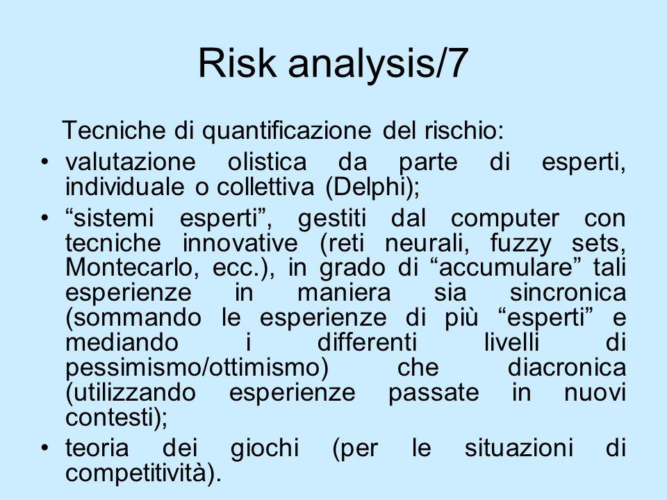 Risk analysis/7 Tecniche di quantificazione del rischio: valutazione olistica da parte di esperti, individuale o collettiva (Delphi); sistemi esperti,