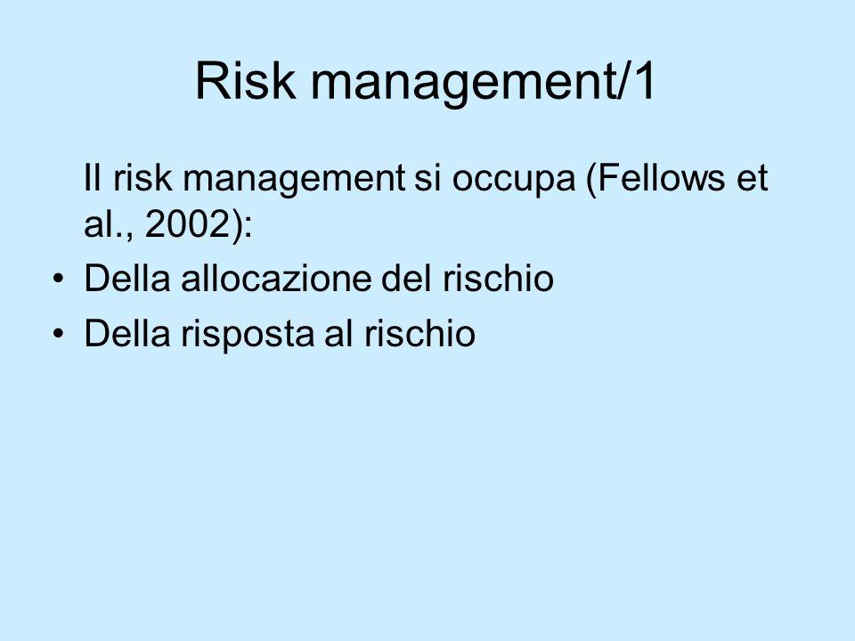 Risk management/1 Il risk management si occupa (Fellows et al., 2002): Della allocazione del rischio Della risposta al rischio