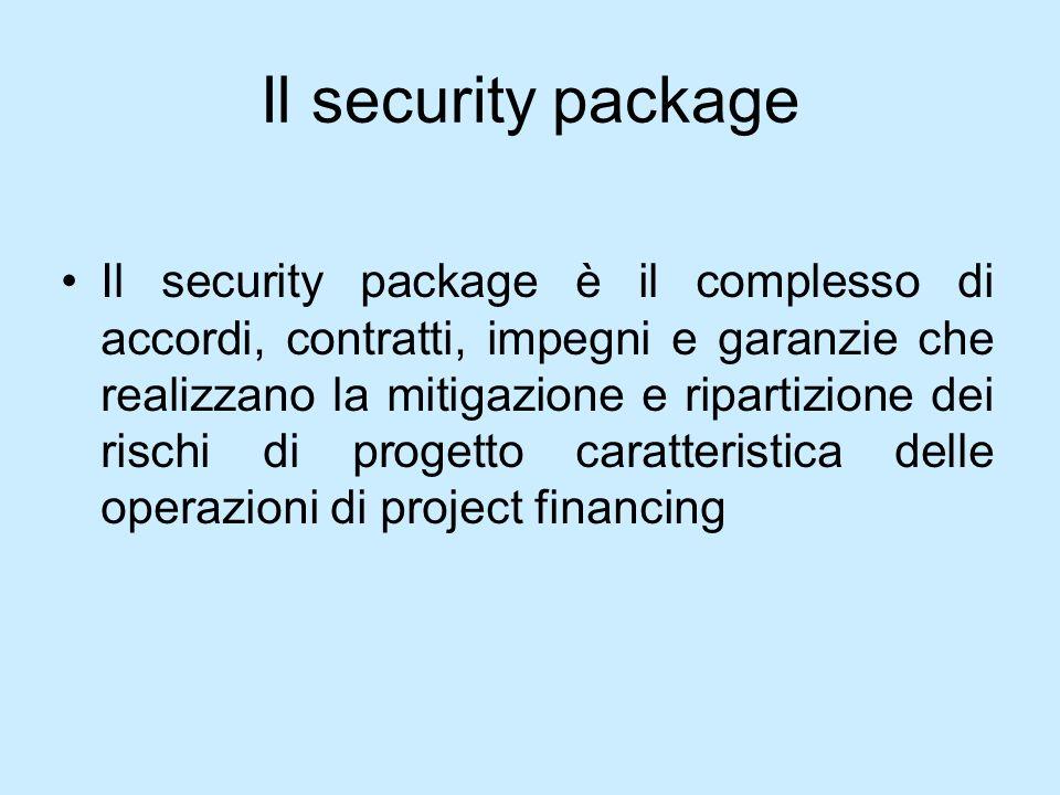 Il security package Il security package è il complesso di accordi, contratti, impegni e garanzie che realizzano la mitigazione e ripartizione dei risc