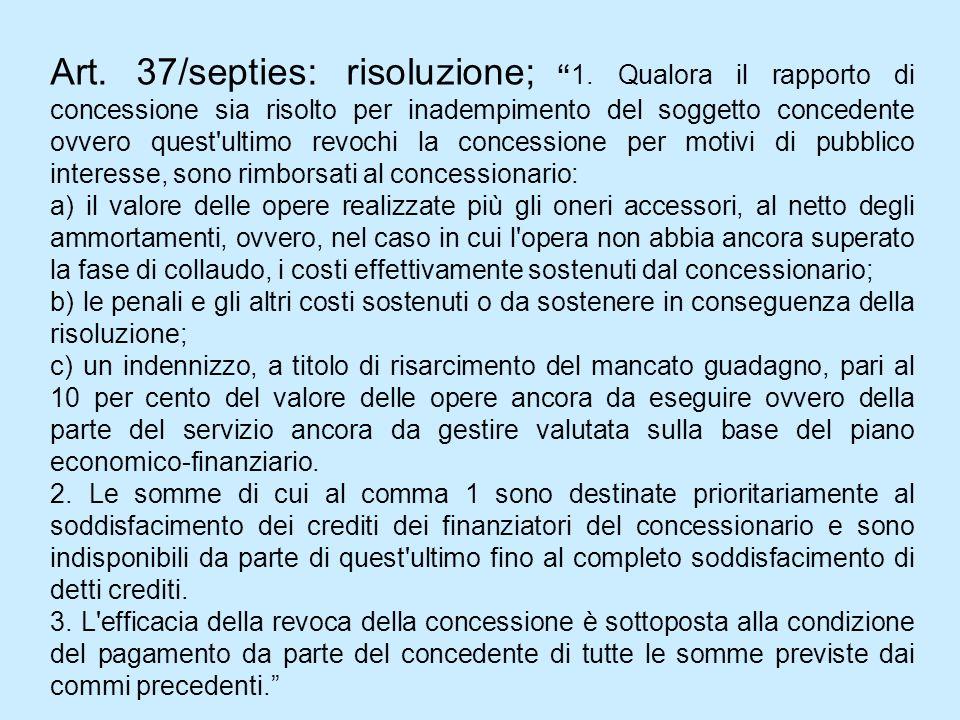 Art. 37/septies: risoluzione;1. Qualora il rapporto di concessione sia risolto per inadempimento del soggetto concedente ovvero quest'ultimo revochi l