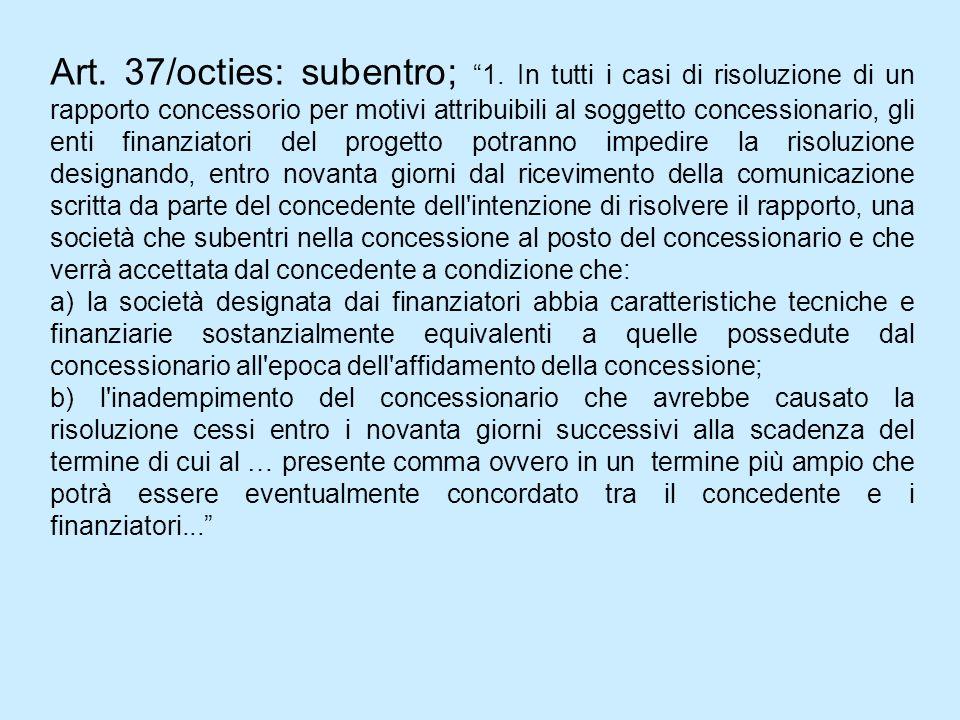 Art. 37/octies: subentro; 1. In tutti i casi di risoluzione di un rapporto concessorio per motivi attribuibili al soggetto concessionario, gli enti fi