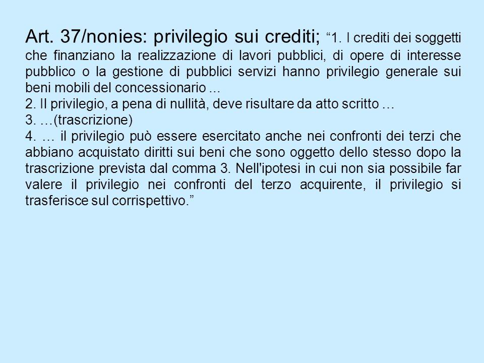 Art. 37/nonies: privilegio sui crediti; 1. I crediti dei soggetti che finanziano la realizzazione di lavori pubblici, di opere di interesse pubblico o