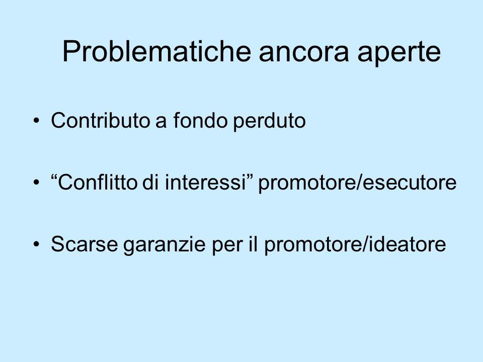 Problematiche ancora aperte Contributo a fondo perduto Conflitto di interessi promotore/esecutore Scarse garanzie per il promotore/ideatore