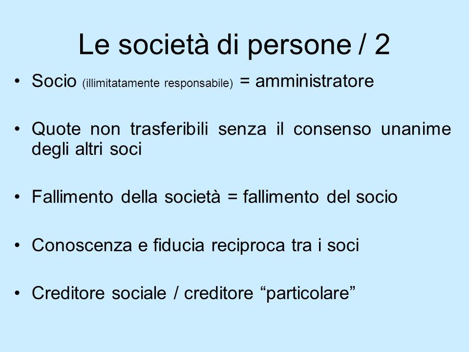 Le società di persone / 2 Socio (illimitatamente responsabile) = amministratore Quote non trasferibili senza il consenso unanime degli altri soci Fall