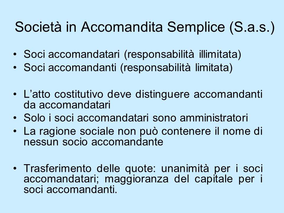 Società in Accomandita Semplice (S.a.s.) Soci accomandatari (responsabilità illimitata) Soci accomandanti (responsabilità limitata) Latto costitutivo