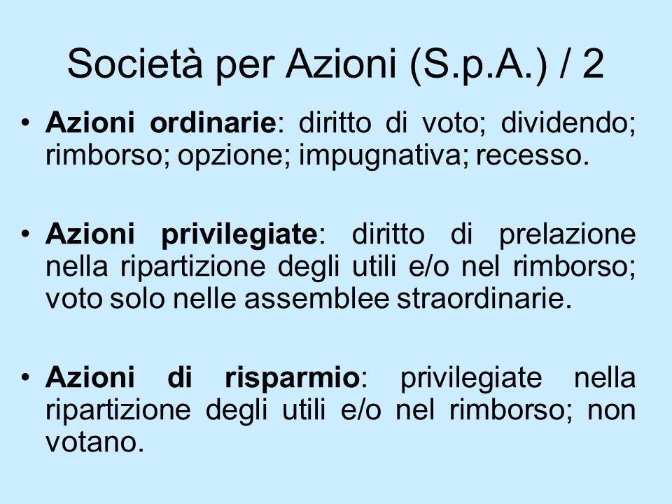 Società per Azioni (S.p.A.) / 2 Azioni ordinarie: diritto di voto; dividendo; rimborso; opzione; impugnativa; recesso. Azioni privilegiate: diritto di