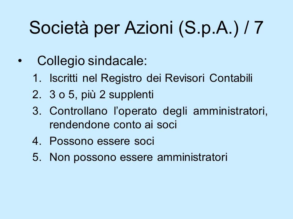 Società per Azioni (S.p.A.) / 7 Collegio sindacale: 1.Iscritti nel Registro dei Revisori Contabili 2.3 o 5, più 2 supplenti 3.Controllano loperato deg