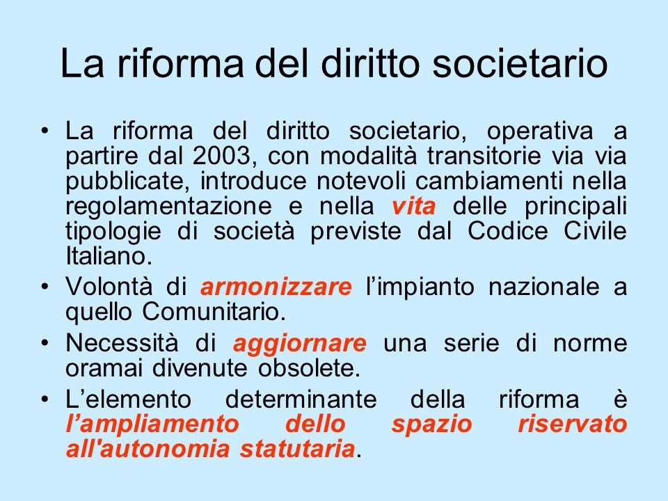 La riforma del diritto societario La riforma del diritto societario, operativa a partire dal 2003, con modalità transitorie via via pubblicate, introd