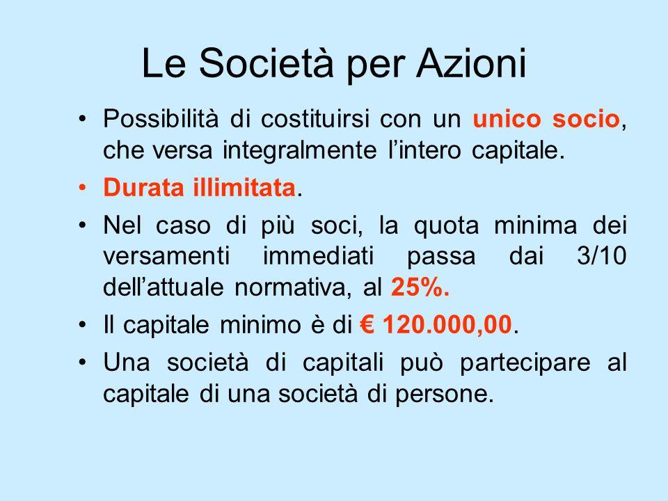Le Società per Azioni Possibilità di costituirsi con un unico socio, che versa integralmente lintero capitale. Durata illimitata. Nel caso di più soci