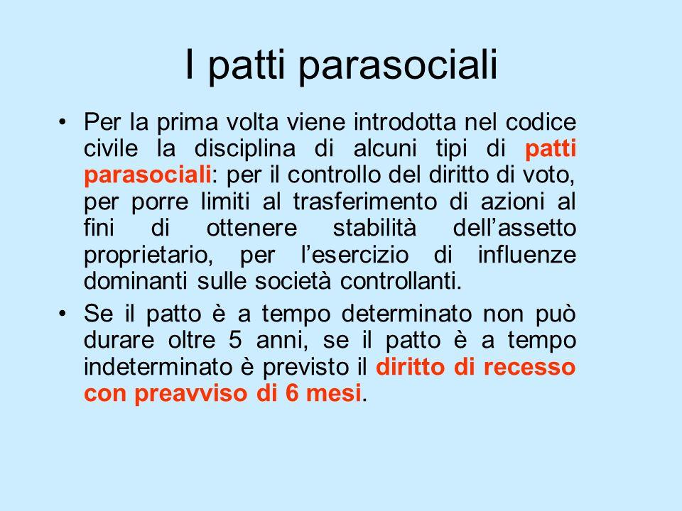 I patti parasociali Per la prima volta viene introdotta nel codice civile la disciplina di alcuni tipi di patti parasociali: per il controllo del diri