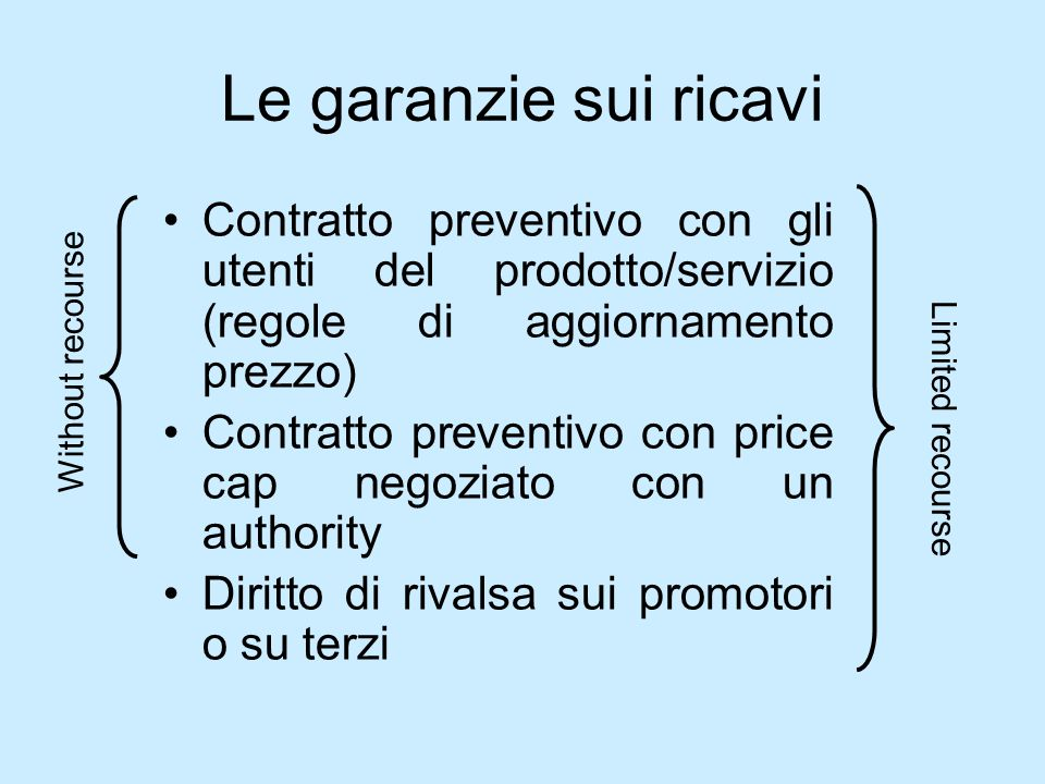 Le garanzie sui ricavi Contratto preventivo con gli utenti del prodotto/servizio (regole di aggiornamento prezzo) Contratto preventivo con price cap n
