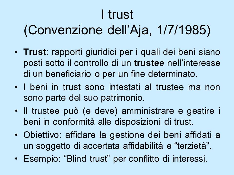 I trust (Convenzione dellAja, 1/7/1985) Trust: rapporti giuridici per i quali dei beni siano posti sotto il controllo di un trustee nellinteresse di u