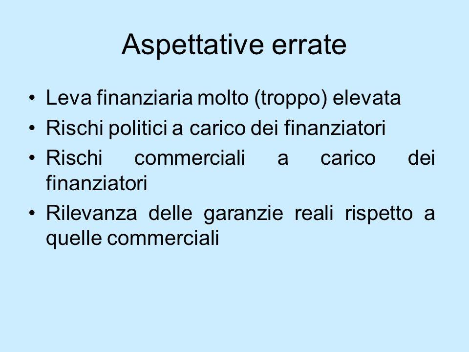 Aspettative errate Leva finanziaria molto (troppo) elevata Rischi politici a carico dei finanziatori Rischi commerciali a carico dei finanziatori Rile