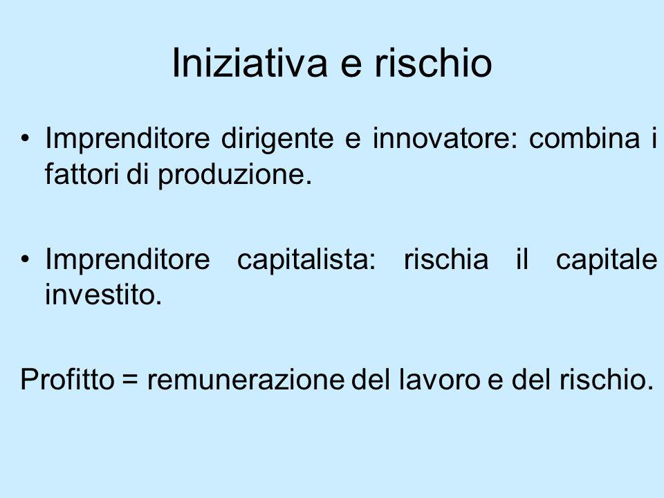 Iniziativa e rischio Imprenditore dirigente e innovatore: combina i fattori di produzione. Imprenditore capitalista: rischia il capitale investito. Pr