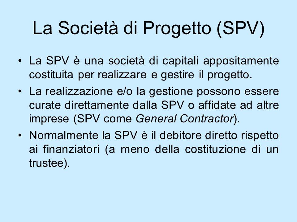 La Società di Progetto (SPV) La SPV è una società di capitali appositamente costituita per realizzare e gestire il progetto. La realizzazione e/o la g